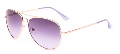 Angle of Sail #2301 in Gold/Purple Frame with Purple Lenses, Women's and Men's Aviator Sunglasses