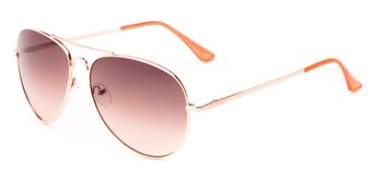 Angle of Sail #2301 in Gold/Coral Frame with Rose Lenses, Women's and Men's Aviator Sunglasses