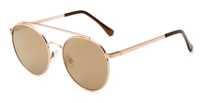 Angle of Ashton #2638 in Gold Frame with Gold Mirrored Lenses, Women's and Men's Round Sunglasses