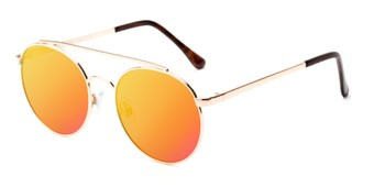 Angle of Ashton #2638 in Gold Frame with Orange Mirrored Lenses, Women's and Men's Round Sunglasses