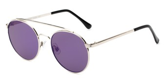 Angle of Ashton #2638 in Silver Frame with Purple Mirrored Lenses, Women's and Men's Round Sunglasses