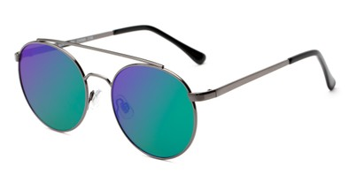 Angle of Ashton #2638 in Grey Frame with Green/Purple Mirrored Lenses, Women's and Men's Round Sunglasses