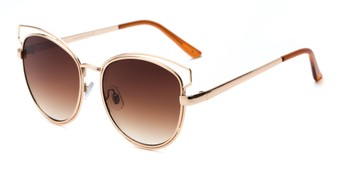 Angle of Elle #26845 in Gold Frame with Amber Lenses, Women's Cat Eye Sunglasses