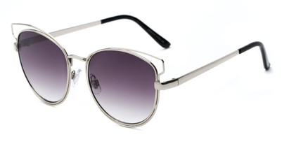 Angle of Elle #26845 in Silver Frame with Smoke Lenses, Women's Cat Eye Sunglasses