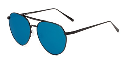 Angle of Hunter #2710 in Black Frame with Blue Mirrored Lenses, Women's and Men's Aviator Sunglasses
