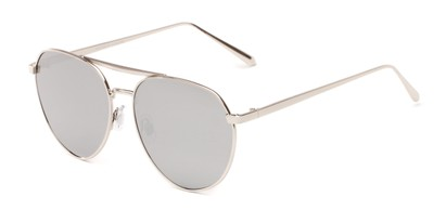 Angle of Hunter #2710 in Silver Frame with Silver Mirrored Lenses, Women's and Men's Aviator Sunglasses