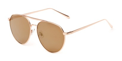 Angle of Hunter #2710 in Gold Frame with Gold Mirrored Lenses, Women's and Men's Aviator Sunglasses