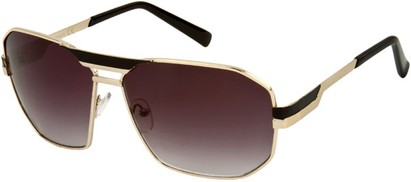 Angle of SW Retro Aviator Style #34 in Gold and Black Frame with Smoke Lenses, Women's and Men's