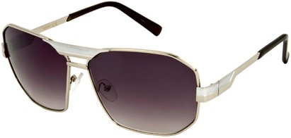 Angle of SW Retro Aviator Style #34 in Silver Frame with Smoke Lenses, Women's and Men's