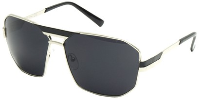 Angle of SW Retro Aviator Style #34 in Silver and Black Frame with Smoke Lenses, Women's and Men's