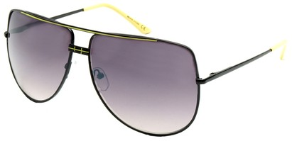 Angle of SW Aviator Style #3456 in Black and Yellow Frame, Women's and Men's