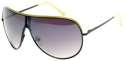 Angle of Fuji #61 in Black and Yellow Frame, Women's and Men's Aviator Sunglasses