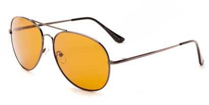 Angle of Highway #4412 in Grey Frame with Dark Yellow Driving Lenses, Women's and Men's Aviator Sunglasses
