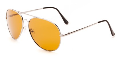 Angle of Highway #4412 in Silver Frame with Dark Yellow Driving Lenses, Women's and Men's Aviator Sunglasses