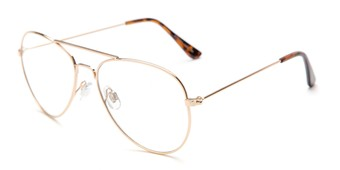Angle of Francis #6257 in Gold Frame with Clear Lenses, Women's and Men's Aviator Fake Glasses