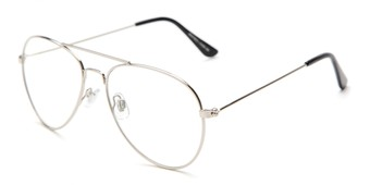 Angle of Francis #6257 in Silver Frame with Clear Lenses, Women's and Men's Aviator Fake Glasses