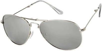 Angle of Baltimore #256 in Silver Frame with Silver Mirrored Lenses, Women's and Men's Aviator Sunglasses