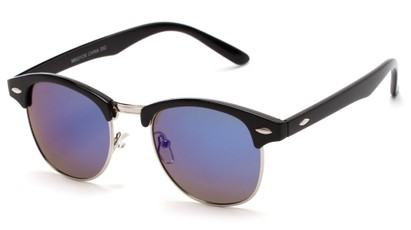 Angle of Globetrotter #6531 in Black Frame with Blue Mirrored Lenses, Women's and Men's Browline Sunglasses