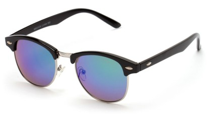 Angle of Globetrotter #6531 in Black Frame with Green Mirrored Lenses, Women's and Men's Browline Sunglasses