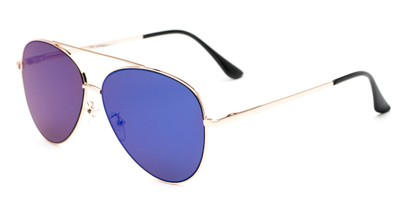 Angle of Marin #9103 in Gold Frame with Blue Mirrored Lenses, Women's and Men's Aviator Sunglasses