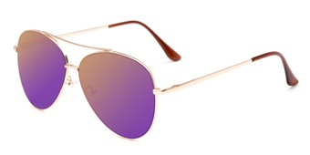 Angle of Marin #9103 in Gold Frame with Purple Mirrored Lenses, Women's and Men's Aviator Sunglasses