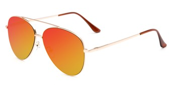 Angle of Marin #9103 in Gold Frame with Red/Yellow Mirrored Lenses, Women's and Men's Aviator Sunglasses