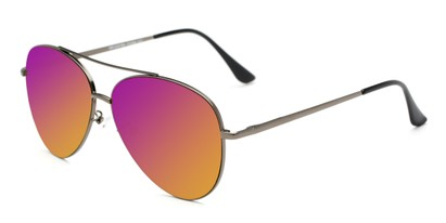 Angle of Marin #9103 in Grey Frame with Purple/Yellow Mirrored Lenses, Women's and Men's Aviator Sunglasses