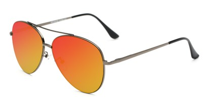 Angle of Marin #9103 in Grey Frame with Red/Yellow Mirrored Lenses, Women's and Men's Aviator Sunglasses