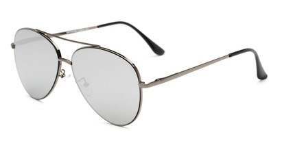 Angle of Marin #9103 in Grey Frame with Silver Mirrored Lenses, Women's and Men's Aviator Sunglasses