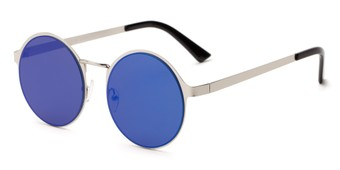 Angle of Banks #9157 in Silver Frame with Blue Mirrored Lenses, Women's and Men's Round Sunglasses