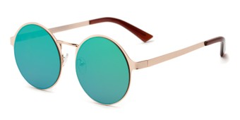 Angle of Banks #9157 in Gold Frame with Dark Teal Mirrored Lenses, Women's and Men's Round Sunglasses