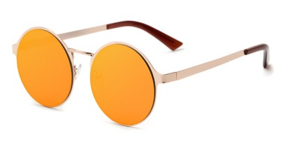 Angle of Banks #9157 in Gold Frame with Orange Mirrored Lenses, Women's and Men's Round Sunglasses