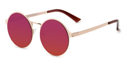Angle of Banks #9157 in Gold Frame with Dark Pink Mirrored Lenses, Women's and Men's Round Sunglasses