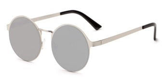 Angle of Banks #9157 in Silver Frame with Silver Mirrored Lenses, Women's and Men's Round Sunglasses
