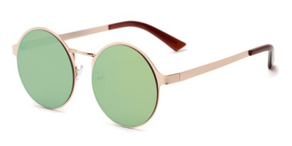 Angle of Banks #9157 in Gold Frame with Yellow/Green Mirrored Lenses, Women's and Men's Round Sunglasses