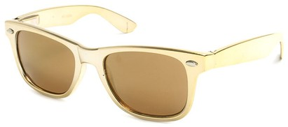 Angle of SW Metallic Retro Style #906 in Gold Frame with Mirrored Lenses, Women's and Men's