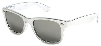 Angle of SW Metallic Retro Style #906 in Silver Frame with Mirrored Lenses, Women's and Men's