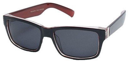 Angle of Tenby #13494 in Black and Red Frame, Women's and Men's Square Sunglasses