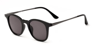 Angle of Heritage #16040 in Black/Grey Frame with Grey Lenses, Women's and Men's Round Sunglasses