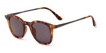 Angle of Heritage #16040 in Tortoise/Grey Frame with Grey Lenses, Women's and Men's Round Sunglasses