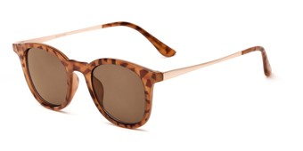 Angle of Heritage #16040 in Light Tortoise/Gold Frame with Amber Lenses, Women's and Men's Round Sunglasses