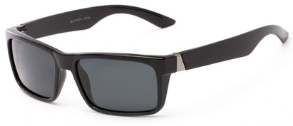 Angle of Wayne #1746 in Glossy Black Frame with Grey Lenses, Men's Square Sunglasses