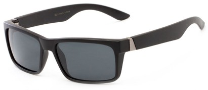 Angle of Wayne #1746 in Matte Black Frame with Grey Lenses, Men's Square Sunglasses