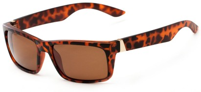Angle of Wayne #1746 in Matte Tortoise Frame with Amber Lenses, Men's Square Sunglasses
