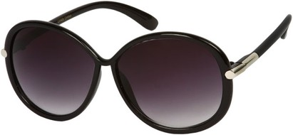 Angle of SW Round Style #9141 in Black Frame, Women's and Men's
