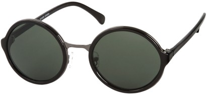 Angle of Dahlia #191 in Black/Silver Frame with Green Lenses, Women's and Men's Round Sunglasses