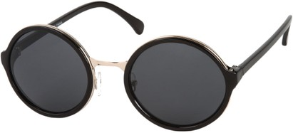 Angle of Dahlia #191 in Black/Gold Frame with Grey Lenses, Women's and Men's Round Sunglasses