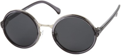 Angle of Dahlia #191 in Clear Grey/Silver Frame with Grey Lenses, Women's and Men's Round Sunglasses