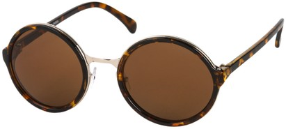 Angle of Dahlia #191 in Brown Tortoise/Gold Frame with Amber Lenses, Women's and Men's Round Sunglasses