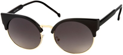 Angle of Vogel #1354 in Glossy Black/Gold Frame, Women's Round Sunglasses